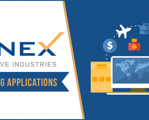 "INNEX Innovative Industries logo with ""accepting applications"" message."
