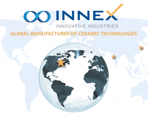 Map of the globe with stars at INNEX Innovative Industries' business locations.